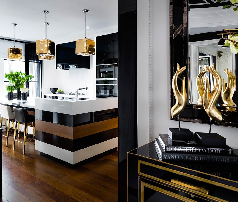 Kitchen Using Black Paint Colors With Gold And White
